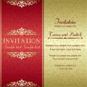 Baroque invitation, gold and red — Vettoriale Stock