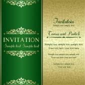 Baroque invitation, gold and green — Vettoriale Stock