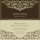 Baroque invitation, brown and beige — Stock Vector