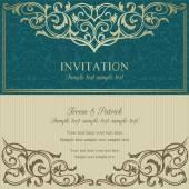 Baroque invitation, blue and beige — Vettoriale Stock