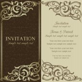 Baroque invitation, brown and beige — Vettoriale Stock