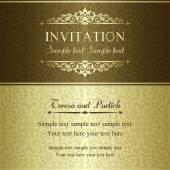 Marrone, oro e invito barocco — Vettoriale Stock