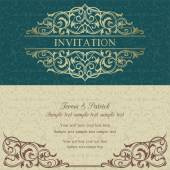 Baroque invitation, blue and beige — Stock Vector