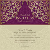 Orient invitation, purple and beige — Stock vektor