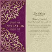 Orient invitation, purple and beige — Stock Vector