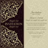 Orient invitation, dark brown and beige — Stock Vector