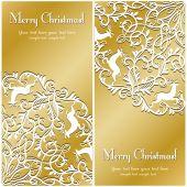 Christmas Greeting card with snowflake and deer — Stockvektor