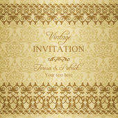Baroque invitation, gold and beige — Stock Vector