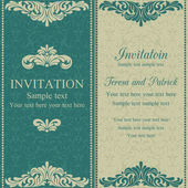 Baroque invitation, blue and beige — Stock Vector