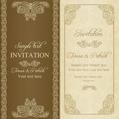 Barock inbjudan, guld och beige — Stockvektor