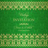 Baroque invitation, green and gold — Vector de stock