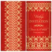 Barocke Einladung, Gold und rot — Stockvektor