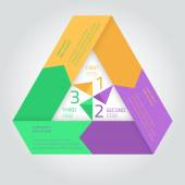 Flat infographic triangle template with arrows — Vettoriale Stock