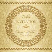 Baroque invitation, gold and beige — Vettoriale Stock
