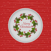 Christmas seamless card with holly wreath, red — Vettoriale Stock