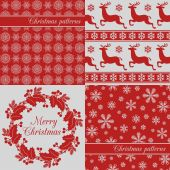 Set of Christmas seamless backgrounds, red — Stock Vector