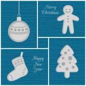 Christmas mini cards, blue — Vettoriale Stock
