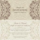 Baroque invitation, brown and beige — Stockvector