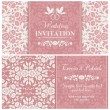 Baroque wedding invitation, pink and beige — Stock Vector #59684165