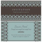 Baroque invitation, brown and blue — Stock Vector