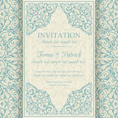 Baroque invitation, blue and beige — Stockvektor