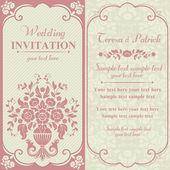 Baroque wedding invitation, pink and beige — Stock Vector