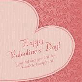 Valentines card with big heart, pink — Vetor de Stock