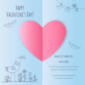 心と手描きのバレンタイン カード — ストックベクタ