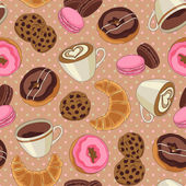 Cookies and coffee pattern, light brown — Stockvector