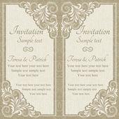 Baroque invitation, beige — Stock Vector