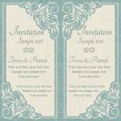 Barokke uitnodiging, blauw en beige — Stockvector