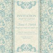 Barok zaproszenie, niebieski i beżowy — Wektor stockowy