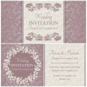 Baroque wedding invitation set, pink — Stock Vector