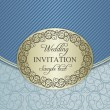 Wedding invitation envelope, gold and blue — Stock Vector #65644377