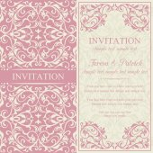 Baroque invitation, pink and beige — Stock Vector