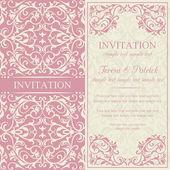 Barock inbjudan, rosa och beige — Stockvektor
