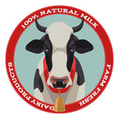Cow label, red style — Stockvector