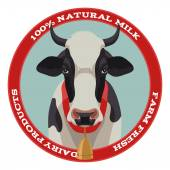 Cow label, red style — Stock Vector