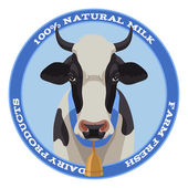 Cow label, blue style — Vector de stock