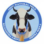 Cow label, blue style — Stock Vector