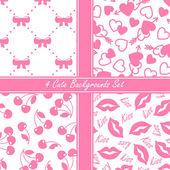 Cute four seamless set, pink — Vetor de Stock