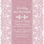 Baroque wedding invitation, pink and white — Stock Vector