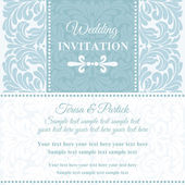 Baroque wedding invitation, blue and white — Stock Vector