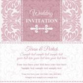 Baroque wedding invitation, pink and white — Stockvector