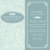 Baroque wedding invitation, blue — Stock Vector