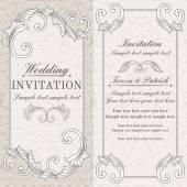 Baroque wedding invitation, grey and beige — Stock Vector