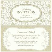 Baroque wedding invitation, beige — Stock Vector