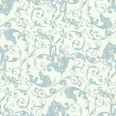 Baroque floral pattern, blue — Stock Vector