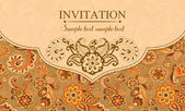 Invitation in east turkish style, orange — Stock Vector
