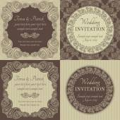 Baroque wedding invitation set, brown and beige — Stock Vector